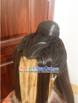 Chinese Handmade Swordsmen Long Black Wig for Men