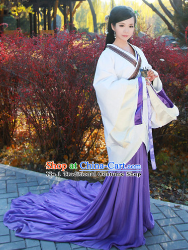 Chinese Han Dynasty Female Long Tail Hanfu Dress Complete Set