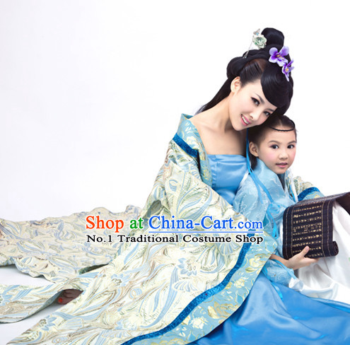 China Fashion Chinese Ancient Costume Mother and Son Outfits and Hair Jewelry Complete Set