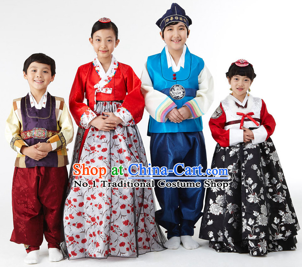 Korean National Costumes 4 Sets for Kids