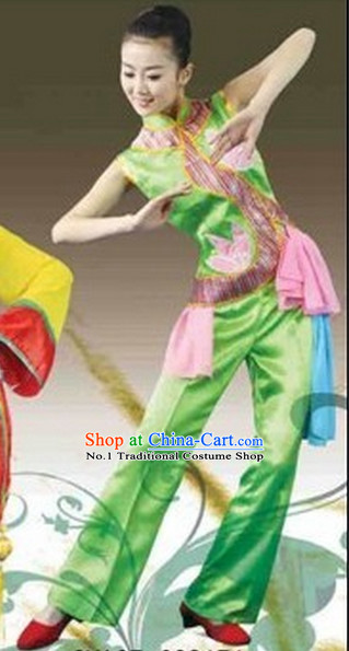 Chinese Costumes Fan Dance Costume Complete Set for Women
