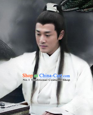 Black Chinese Ancient Long Wig for Men
