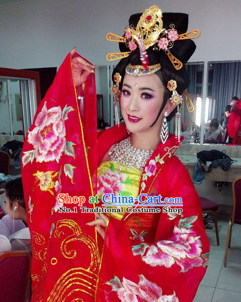 Chinese Professional Stage Performance Empress Costume and Hair Accessories Full Set