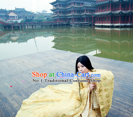 Chinese Traditional Princess Gold Costume and Long Black Wig Complete Set
