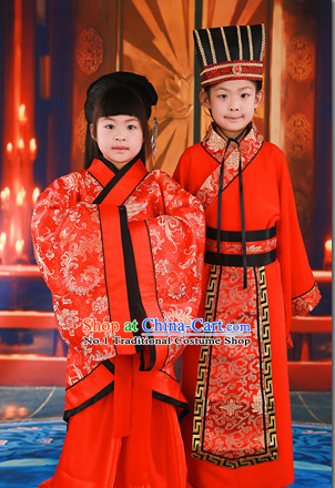 Western Zhou Dynasty Chinese Traditional National Costume Wedding Dress Outfits 2 Sets for Kids