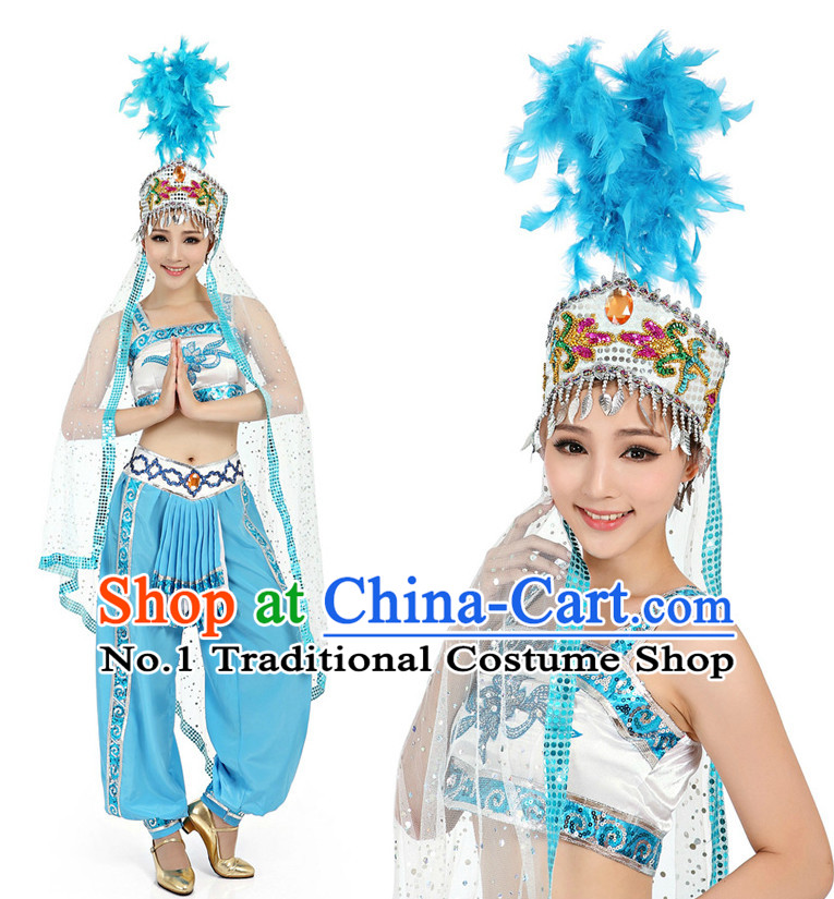 Chinese Dance Costumes Apparel Dance Stores Dance Gear Dance Attire and Hair Accessories Complete Set for Women