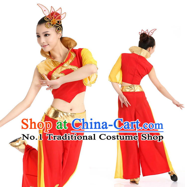 Chinese High Collar Ribbon Dance Costumes Apparel Dance Stores Dance Gear Dance Attire and Hair Accessories Complete Set for Women