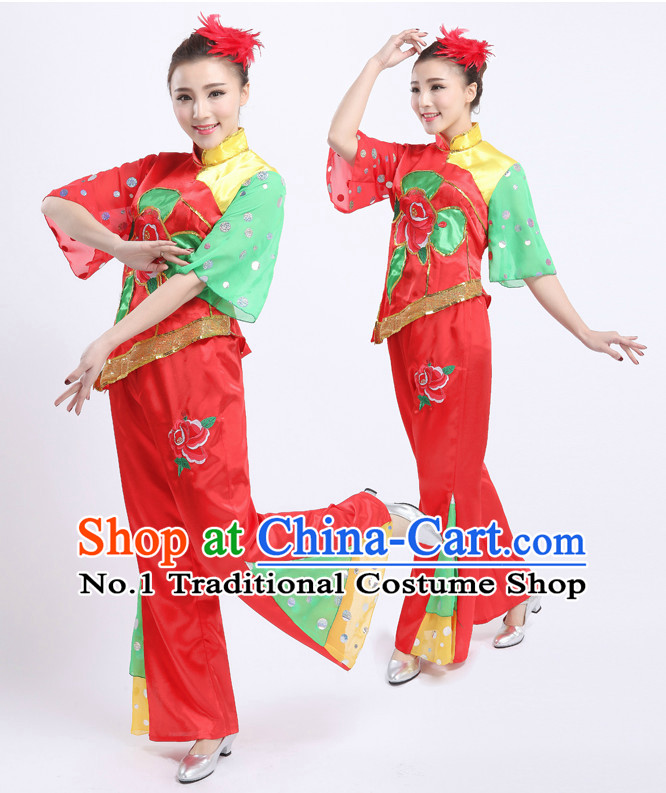 Chinese Stage Professional Hankerchief Dancing Costumes Apparel Dance Stores Dance Gear Dance Attire and Hair Accessories Complete Set