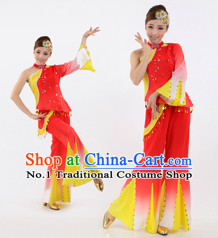Chinese Stage Fans Costumes Apparel Dance Stores Dance Gear Dance Attire and Hair Accessories Complete Set