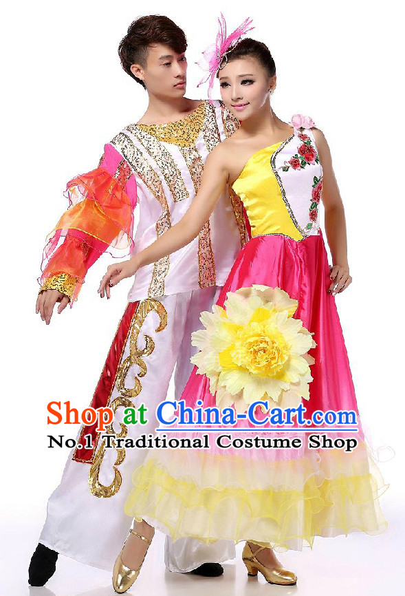 Chinese Stage Dancing Costumes Apparel Dance Stores Dance Gear Dance Attire and Hair Accessories Full Set