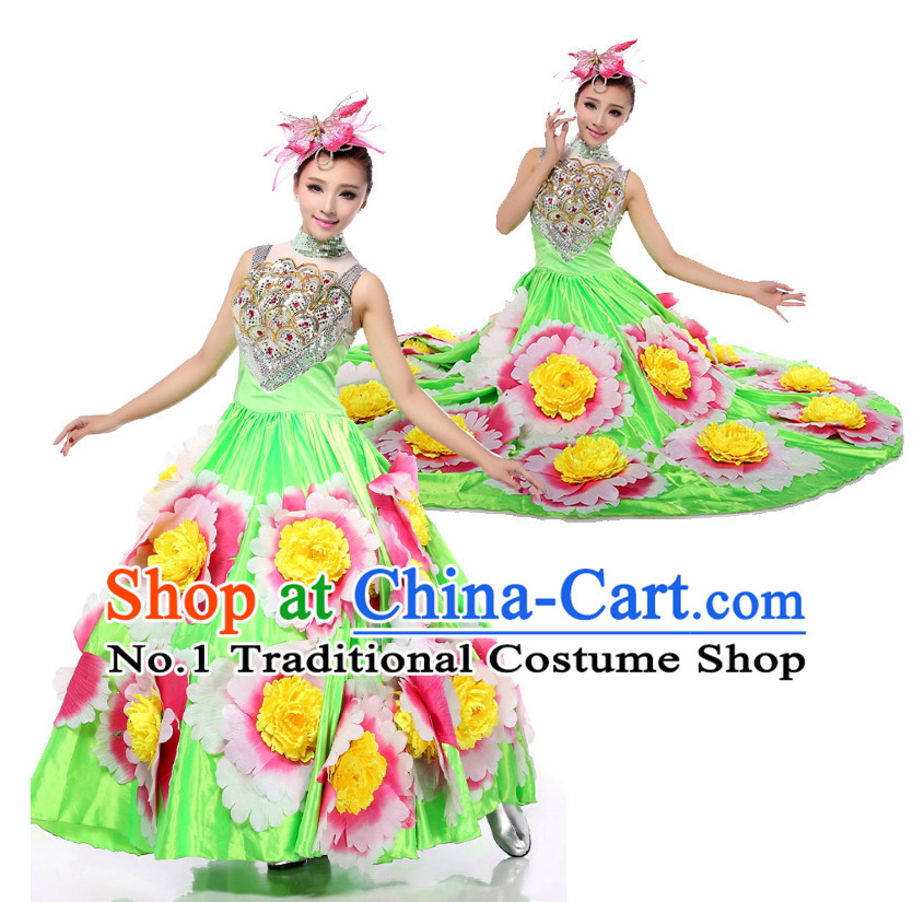 Chinese Stage Costumes Dance Stores Dance Gear Dance Attire and Hair Accessories Complete Set