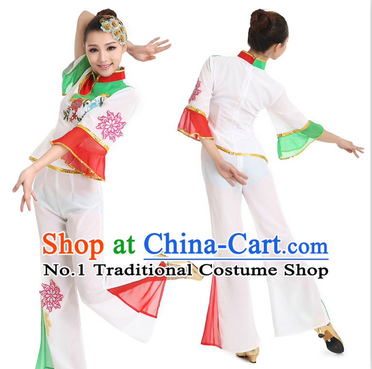 Asian Chinese Classical Dancing Costume Dance Stores Dance Gear Dance Attire and Hair Accessories Complete Set