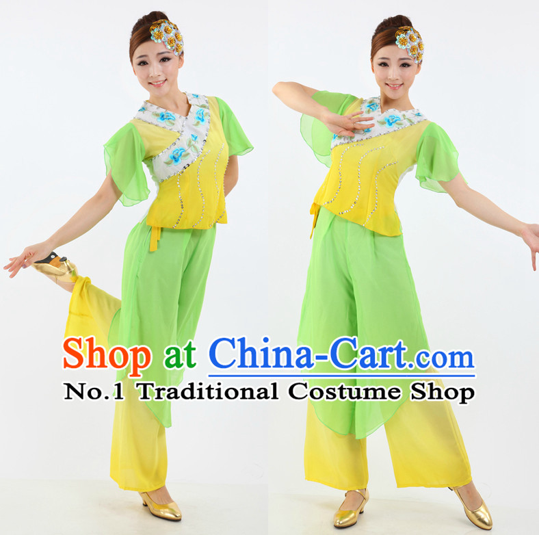 Asian Chinese Fans Dance Costume Dance Stores Dance Gear Dance Attire and Hair Accessories Complete Set
