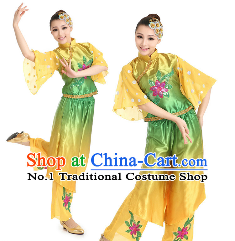 Chinese Fan Dancing Costumes Apparel Dance Stores Dance Gear Dance Attire and Hair Accessories Full Set