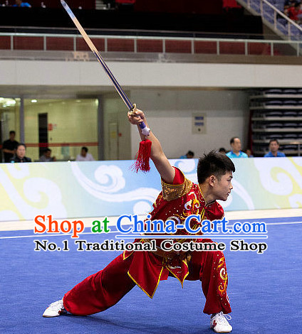 Top Embroidered Martial Arts Uniform Supplies Kung Fu Southern Swords Broadswords Championship Competition Superhero Uniforms for Men