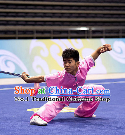 Top Pink Martial Arts Uniform Supplies Kung Fu Southern Swords Broadswords Competition Uniforms for Men