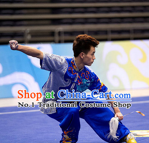 Top Blue Short Sleeves Martial Arts Uniform Supplies Kung Fu Southern Swords Broadswords Competition Uniforms for Men