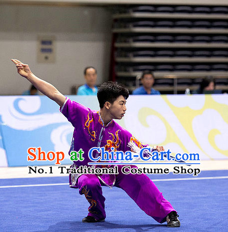 Top Purple Short Sleeves Martial Arts Uniform Supplies Kung Fu Southern Swords Broadswords Competition Uniforms for Men
