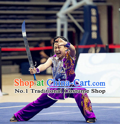 Top Purple Kung Fu Broadsword Costume Martial Arts Broadswords Combat Costumes Kickboxing Equipment Superhero Apparel Karate Clothes Complete Set for Men