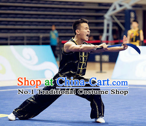 Top Black Kung Fu Broadsword Costume Martial Arts Broadswords Combat Costumes Kickboxing Equipment Superhero Apparel Karate Clothes Complete Set for Men