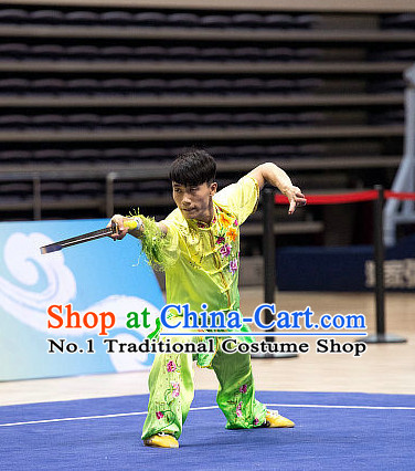 Top Light Green Embroidered Martial Arts Uniform Supplies Kung Fu Southern Swords Broadswords Championship Competition Uniforms for Men