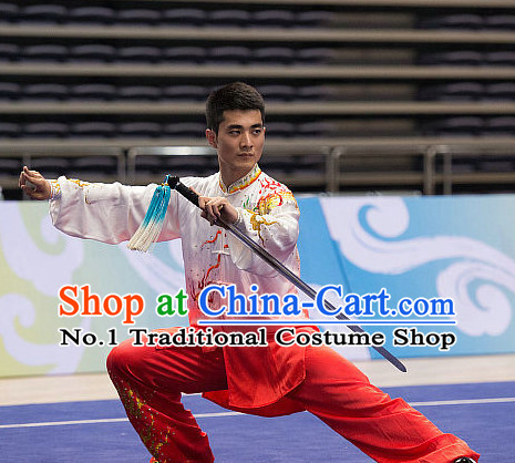 Top Embroidered Dragon Tai Chi Swords Championship Costumes Taijiquan Uniforms Quigong Uniform Thaichi Martial Arts Qi Gong Kung Fu Combat Clothing Competition Clothes for Men