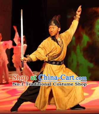 Professional Chinese Stage Performance Official Bodyguard Costumes and Hat Complete Set for Men