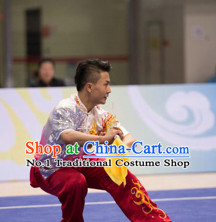Top Shiny Wing Chun Competition Uniform Kung Fu Costume Complete Set for Men