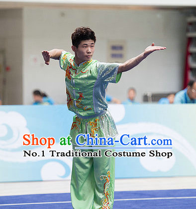 Top Embroidered Chinese Kung Fu Uniform Martial Arts Uniforms Kungfu Suits Competition Costumes Complete Set