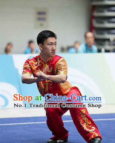 Top Red Embroidered Chinese Kung Fu Uniform Martial Arts Uniforms Kungfu Suits Competition Costumes Complete Set