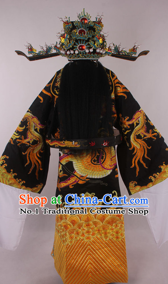 Chinese Beijing Opera Peking Opera Bao Gong Judge Costumes and Hat Complete Set for Kids