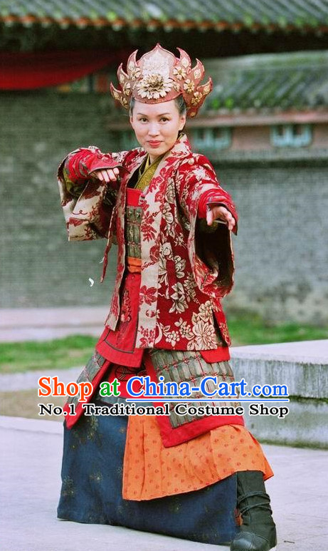 Chinese Traditional Female Warrior General Fighting Costumes Complete Set for Women
