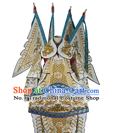 Chinese White Theatrical Costume Beijing Opera Costumes Peking Opera Wu Sheng Embroidered Armor Costumes and Flags for Men