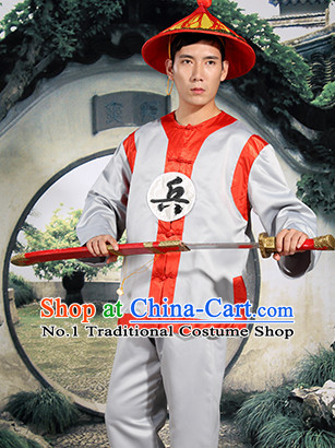 Chinese Ancient Solider Costume and Hat Complete Set for Men