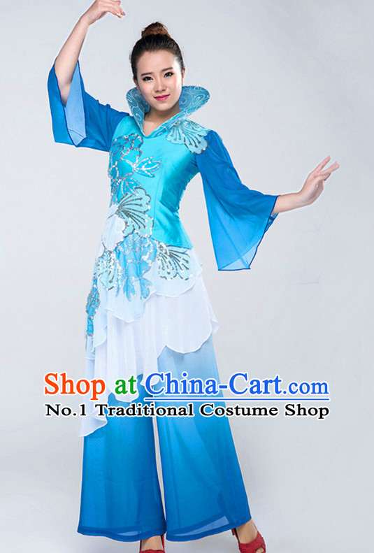 Traditional Chinese High Collar Fan Clothing Complete Set for Women