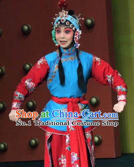 Chinese Ancient Beijing Opera Peking Opera Hua Tan Costumes and Headwear Complete Set for Women