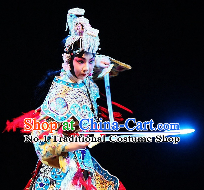 Chinese Peking Opera Empress Costumes and Hair Accessories Complete Set