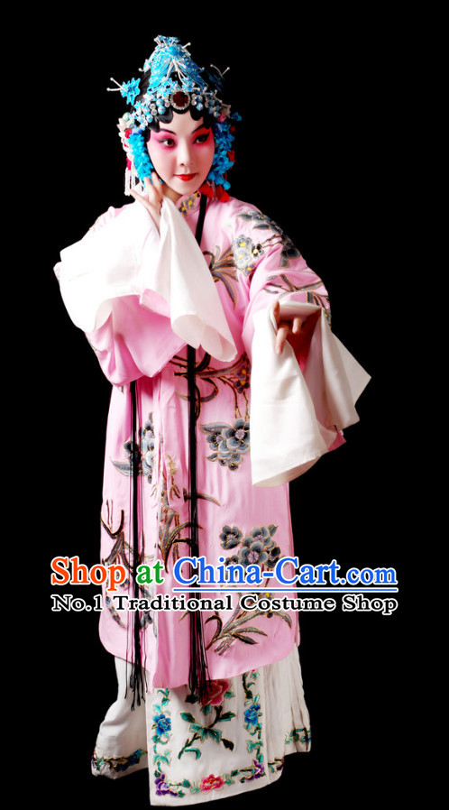 Chinese Beijing Opera Hua Dan Hua Tan Costumes and Hair Accessories Complete Set for Women