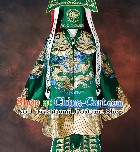 Chinese Beijing Opera Peking Opera Embroidered Dragon Costumes and Hat for Men
