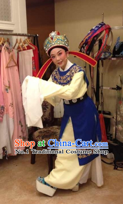 Asian Chinese Traditional Dress Theatrical Costumes Ancient Chinese Clothing Chinese Attire and Hat Complete Set