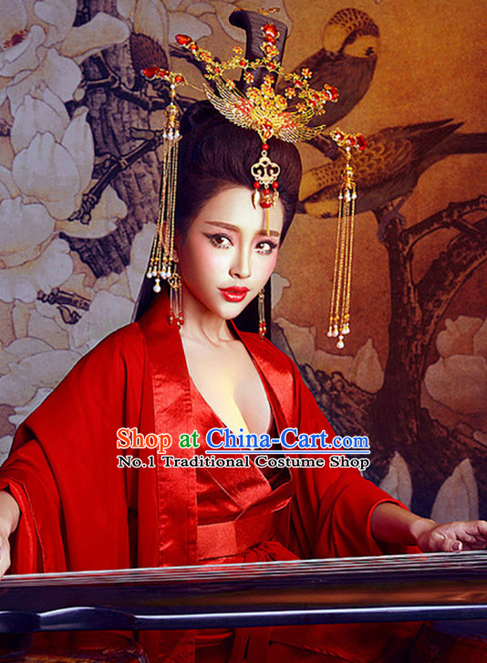 Chinese Red Sexy Kimono Dresses and Hair Jewelry Complete Set