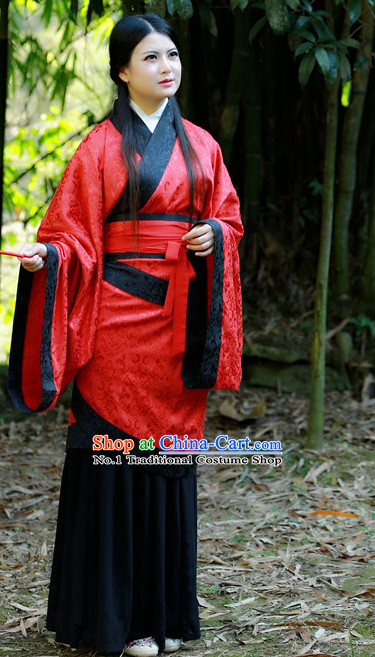 Chinese Traditional Red Hanfu Autumn Dress for Women