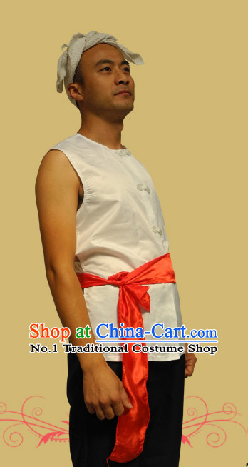 Asian Fashion Chinese Old Society Village Farmer Performance Costumes and Headband