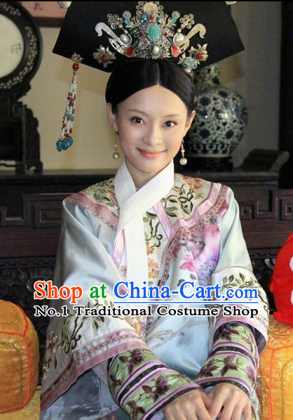 Chinese Ancient Empress Manchu Qipao Cheongsam Clothing and Headwear Complete Set