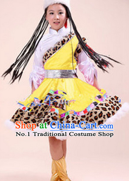 Chinese Tibetan Girl  Folk Dance Costumes Dancewear