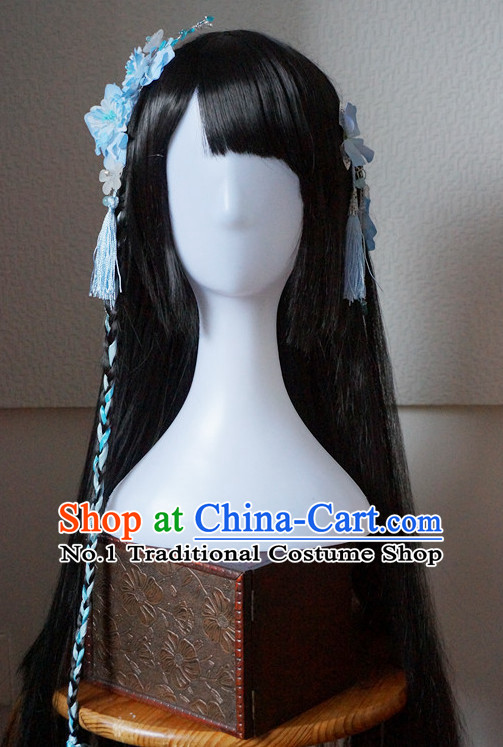 Traditional Chinese Costumes Wigs and Handmade Flower Hair Accessories Hair Jewelry