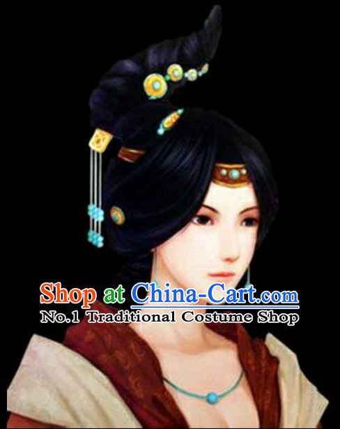 Chinese Ancient Style Ladies Long Black Wigs and Hair Jewelry