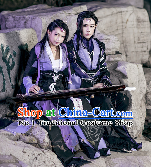 Asia Fashion Chinese Wu Xia Swordsman Play Cosplay Costumes Halloween Costume and Hair Jewelry