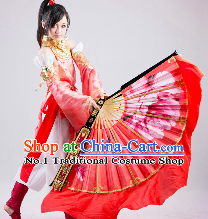 Handmade Big Pure Silk Chinese Red Peony Dance Fan