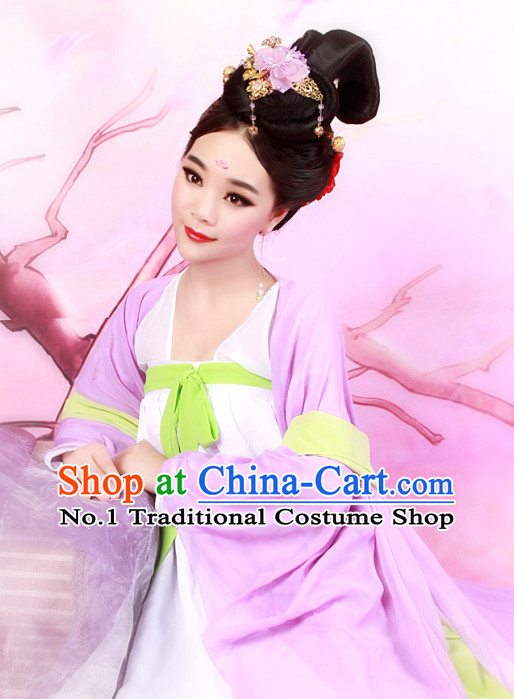Chinese Ancient Tang Robe Suit and Hair Jewelry Complete Set